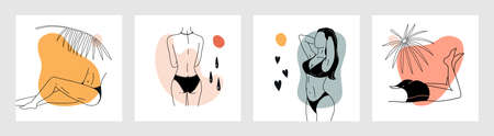 Trendy woman posters. Contemporary minimalist naked female characters. Girls sunbathing at tropical beach. Models in swimsuits and underwear. Square banners set. Vector outline collage