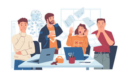 Chaos in office. Stressed workers with shock reaction. Surprised people look at flying pages. Mess in workplace with spilled coffee and blown away papers. Vector sheets thrown into air