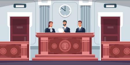 Court. Cartoon courtroom interior with judges sitting at desk in uniform. Tribunal process. Lawyers review lawsuit documents. Spacious trial hall with wooden tables, vector illustration