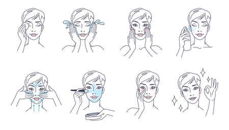 Skin care steps. Routine beauty procedures. Cartoon woman washes face with cosmetic cleansers and makeup removers. Female character uses masks and moisturizers. Vector girl cleans body