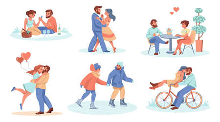 Dating couple. Romantic boy and girl spend time together. People in love riding bicycle and ice skates. Happy persons hugging or dancing. Pair of lovers eating in cafe, vector scenes set 向量圖像