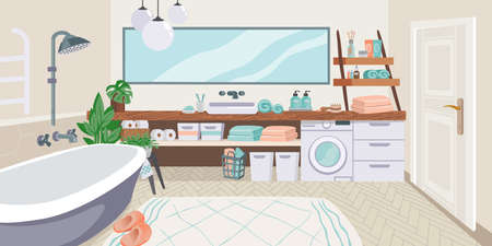 Bathroom interior. Cartoon toilet room with bathtub and washing machine. Mirror over enamel sink. Houseplants in pots. Wooden shelves for toiletries or cosmetics. Vector restroom furnishing