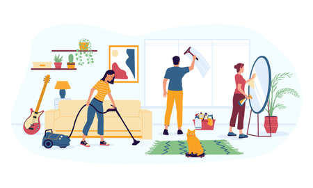 House cleaning. Housekeeping work. Woman vacuuming carpet at home. Man washing window. Girl polishing mirror. People doing homework using cleansers and equipment. Vector maid occupation