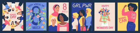 Womens day posters. 8 March International feminine holiday. Cartoon celebration banners set with female solidarity or girl power symbols and feminist slogans. Vector greeting cards 向量圖像