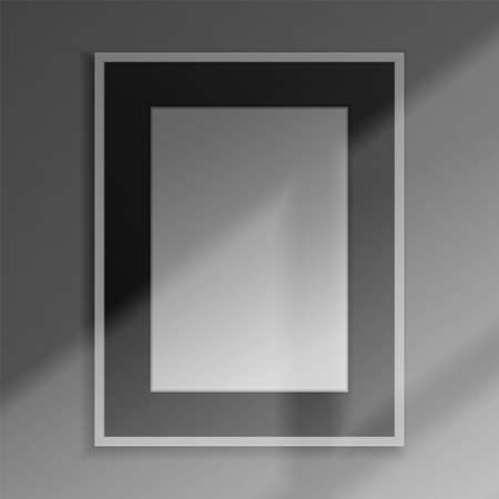 Realistic frame. 3D blank framework with shadow overlay effect. Square banner hanging on wall. Picture border mockup with shade from window. Vector interior design decorative accessory 向量圖像