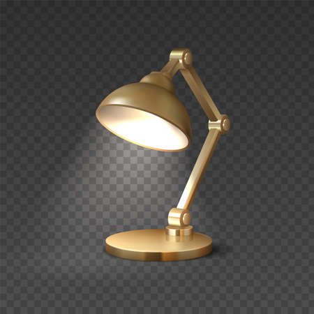 Realistic table lamp. 3D light furniture. Electric illuminated equipment for interior design. Isolated golden luminaire on transparent background. Vector lighting accessory on desktop 向量圖像