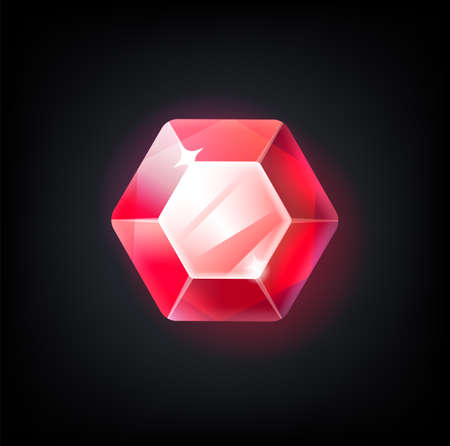 Red gem. Cartoon jewelry for game achievement. Top view of faceted ruby. Isolated precious stone with light reflection. Sparkling geometric crystal. Vector glittering scarlet diamond