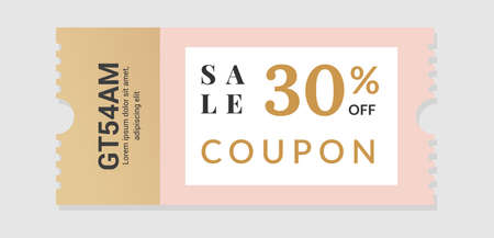 Sale voucher. Coupon design for discount and gift event. Square paper with separation line and identification code. Shopping certificate. Special offer tag. Vector promotion ticket 矢量图像