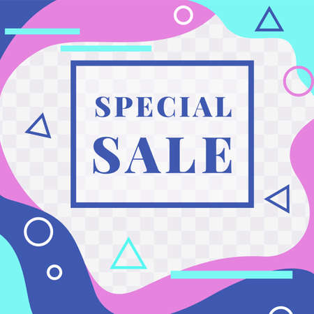 Special sale. Social media banner. Discount web promotion mockup. Abstract shapes and geometric minimal figures. Vector advertising flyer with copy space and transparent background