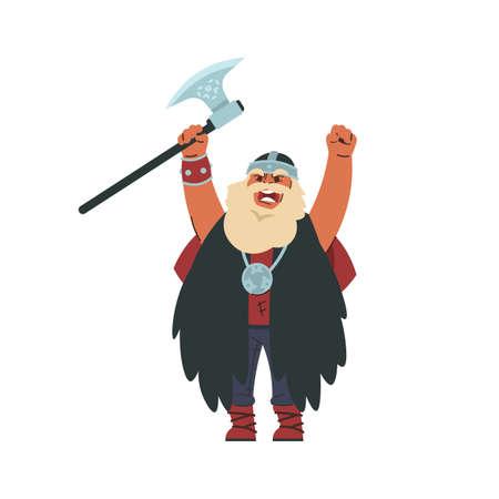 Viking. Cartoon Scandinavian character in military historic costume. Medieval Norwegian warlike barbarian. Shouting berserker raising hands. Vector bearded man holding metal battle axe 矢量图像