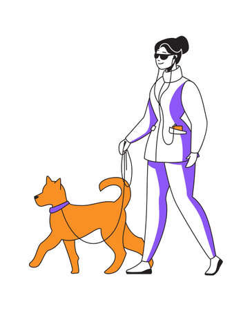 Woman walking dog and listening to podcast. Happy female goes with puppy on leash. Cartoon cute girl enjoying music using earphones. Vector isolated person spends leisure time with pet 矢量图像