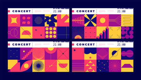 Geometric tickets. Music concert and cinema entry tags with abstract Bauhaus elements. Contour figures and silhouettes. Frames with simple shapes or lines. Vector bright minimal flyers set 向量圖像
