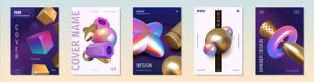 Render shapes posters. Abstract 3D holographic metallic elements. Golden and iridescent geometric figures. Modern covers with minimal composition of cubes or spheres. Vector banners set 矢量图像