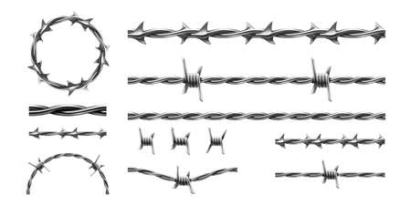 Realistic barbed wire. Prison metal fence elements. 3d military border. Jail protective barrier. Types set of metallic cables with thorns. Vector intertwined of lines, boundary template 矢量图像