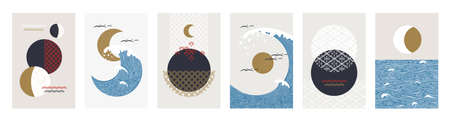 Japanese posters. Minimal traditional Asian banners. Abstract seascapes. Nature panoramas. Ocean waves and moon or sun in sky. Contour and ornament textures. Vector oriental flyer set 矢量图像