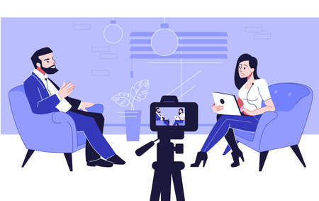 Podcast. Blogger recording interview with camera. Man and woman talking in studio. Live streaming conversation between journalist and expert. Vector entertaining or news broadcasting