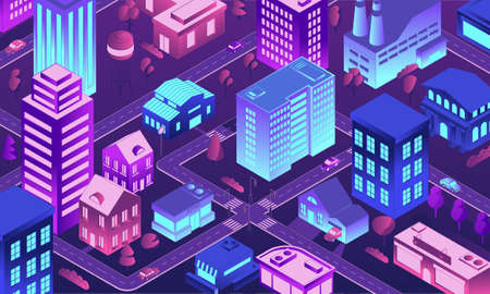 Isometric futuristic city. 3D town at night. Buildings with neon lighting windows. Top view of illuminated houses and streets. Cityscape background. Vector urban residential district 矢量图像