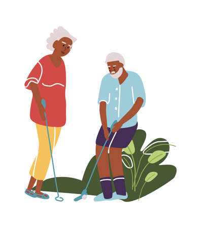 Elderly man and woman play golf. Cartoon old active people. Golfers roll ball into hole. Grandparents spend leisure time together. Vector outdoor recreation or hobby for retired persons 矢量图像