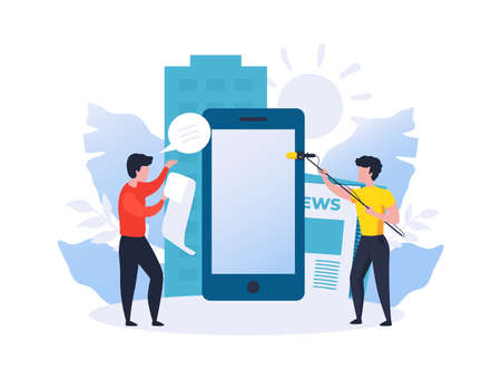Online newspaper. Showing news. Speaker and operator with microphone recording reportage. Men filming journalists review. Online mass media broadcasting. Vector mobile live streaming 向量圖像
