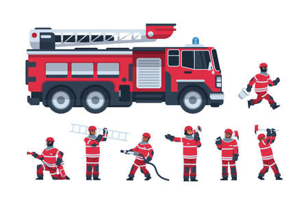 Fireman. Cartoon fire engine and firefighters. Professional rescuers extinguish flame using hose and ladder. Male characters hold ax or loudspeaker. Vector emergency service workers
