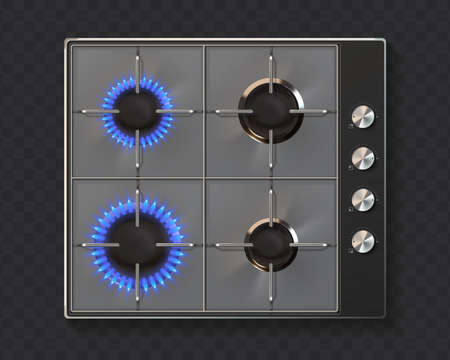 Gas stove. Realistic kitchen appliance. 3D oven with on and off burners on transparent background. Top view of household equipment for cooking meal. Vector preparing food on burning fire