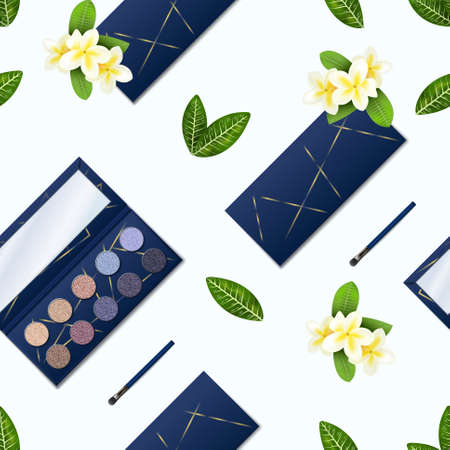 Eyeshadow pattern. Realistic seamless texture of makeup palette with glitter shadows. Opened or closed cosmetic boxes for dry compact colorful pigments. Vector leaves and white flowers