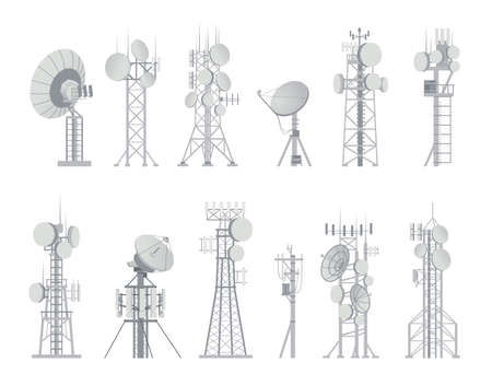 Wireless antenna. Analog aerial communication receiver. Connection and broadcast constructions set. Digital equipment for signal or data transmission. Vector internet or cellular towers 向量圖像