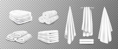Realistic towels. 3D bathroom terry cloth. Rolled or stacked soft fabric on transparent background. Textile toiletries hanging on hangers. Vector cotton material for wiping after shower 矢量图像