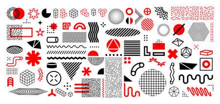 Memphis abstract shapes. Geometric graphic design elements. Contemporary line and circles figures with dots. Decorative background template with vector minimal silhouettes and forms