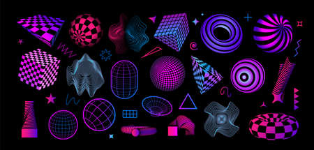 Retro futuristic shapes. Abstract geometric figures. Bright cubes and spheres with grid texture. Concentric circles and minimal contour forms. Vector decorative dynamic elements set