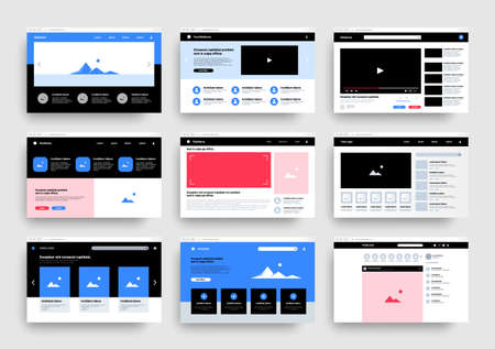 Website wireframe. Web landing page templates. Blank interfaces types set of multimedia players and online photography portfolio. Network UI with users profiles icons. Vector mockups