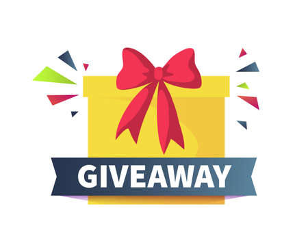 Giveaway poster. Give presents concept. Cartoon square yellow box with red ribbon bow and confetti. Congratulate winners of competitions and contests. Vector promotional gift sharing Vector Illustration