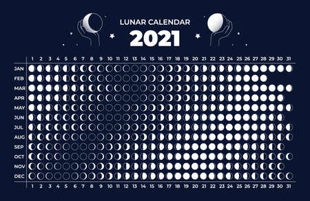 Moon calendar. Astrology 2021 lunar cycle. Celestial astronomy scheme. Phase change in different months of year. Organizer with silhouette or contour round signs. Vector annual schedule Vektorové ilustrace