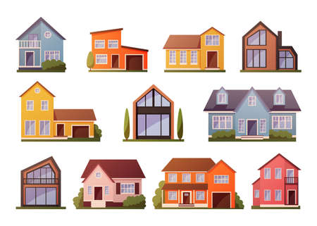 Modern houses. Cartoon townhouse architecture. Residential buildings facades set. Front view of cottages exterior contemporary design with garages and porches. Vector cityscape kit