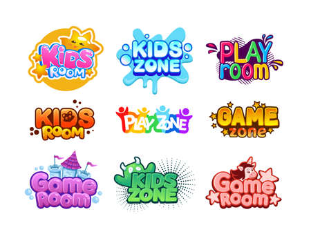 Kids zone. Cartoon children playroom. Entertaining playground logo set. Funny play rooms banners. Colorful typographic party stickers with lettering. Vector baby leisure area for games