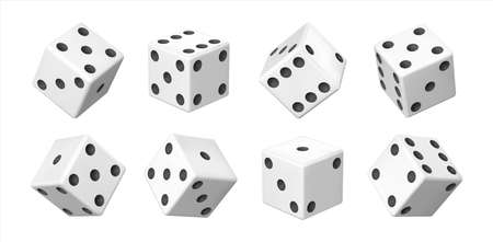 Realistic 3D dice. White casino and betting element. View from different sides on white cube with black dots. Tossed craps set. Vector table games equipment with points combinations