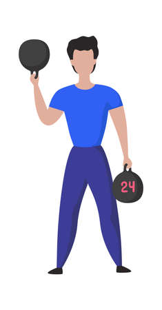 Sport training. Cartoon male doing exercises. Athlete lifts weights. Isolated sportsman holding dumbbells. Powerlifting workout. Bodybuilders activity. Vector muscular man wears sportswear