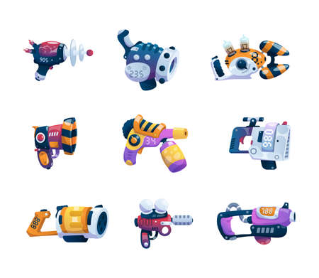 Cartoon guns. Alien game weapon. Futuristic lasers and blasters set. Astronaut combat ray handguns. Fictional weaponry with triggers and handles. Vector fantastic plasma or beam arms Vektorgrafik