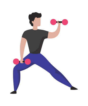 Man with dumbbells. Sport training. Cartoon athletic character lifting weights. Isolated bodybuilder doing exercises. Powerlifting workout. Vector muscular sportsman holding barbells