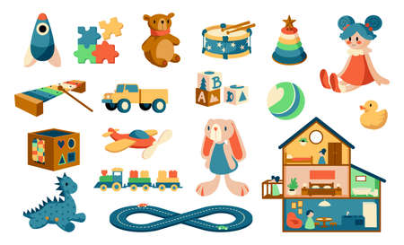 Cartoon toys. Babies objects for playing games. Kids educational jigsaw and puzzles. Plush animals or cute dollhouse. Musical instruments for children. Vector colorful playthings set Vettoriali