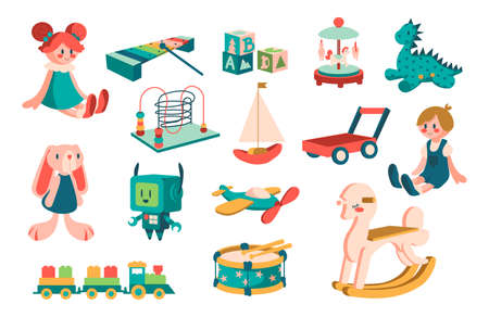 Kid toys. Cartoon cute children dolls and robots for play and education. Baby infant and toddler transport. Musical xylophone and animals collection. Vector isolated playthings set Vektoros illusztráció