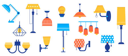 Doodle lamps. Cartoon floor and table lighting equipment. Sconce with bright lampshades. Chandelier and pendant lights. Interior illumination collection. Vector decorative elements set Ilustracje wektorowe