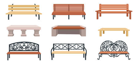 Bench. Cartoon wooden outdoor chair. Street and park municipal furniture. Wicker garden seat and stone couch. Urban public area landscape elements template. Vector town sitting set