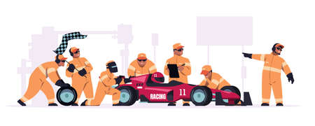 Racing crew. Cartoon pit stop team in uniform working on race car. Mechanic workers changing wheels of bolide. Maintenance technicians and engineers. Automobile repair. Vector illustration Vecteurs