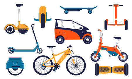 Electric transport. Cartoon personal electrical vehicles. Balanced monowheel and gyroscooter. Isolated bicycle or ecological automobile. Hoverboard and electro-scooter. Vector bikes set