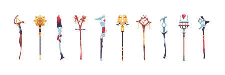 Magic staves. Wizard sticks and wands. Antique scepter weapon with decorative crystals. Magical wooden and metal staff. Sorcerer and shaman tools. Vector warlock costume elements set Ilustracja