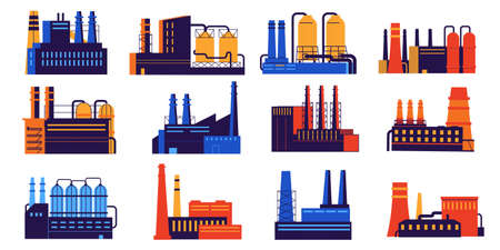 Industry building. Urban factory construction with silo and pipes. Nuclear power plant. Chemical and organic manufacturing. Industrial architecture. Vector city landscape elements set Ilustracja