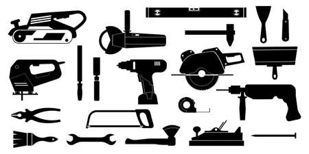 Black construction tools. Home repair and building instruments for workers and engineers. Silhouette icons of workman hardware. Carpentry and engineering equipment. Vector signs set Ilustracja