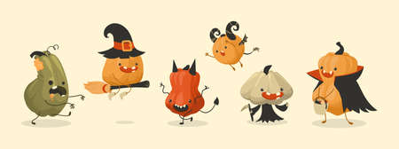 Pumpkin monsters. Cartoon autumn Halloween holiday food mascots set. Scary squashes with funny faces. Isolated spooky gourds in festival costumes. Vector fearful October characters Ilustracja