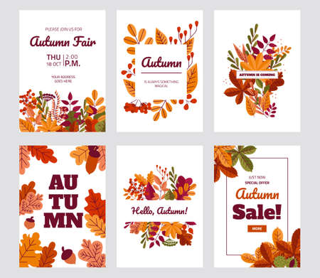 Autumn foliage posters. Fall discount and special offer banners with red or yellow leaves. Maple or oak plants. Sale flyers design template with lettering. Vector coupon ticket set